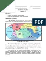 Activity Sheet / Module in Plate Tectonics