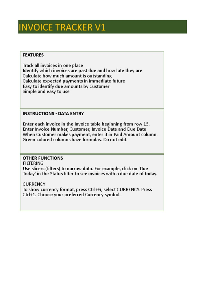 Indzara Invoice Tracker V1 Xlsx Microsoft Excel Computing