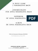 Bach - Notenbuchlein Fur Anna Magdalena Bach Urtext Lemoine Ed