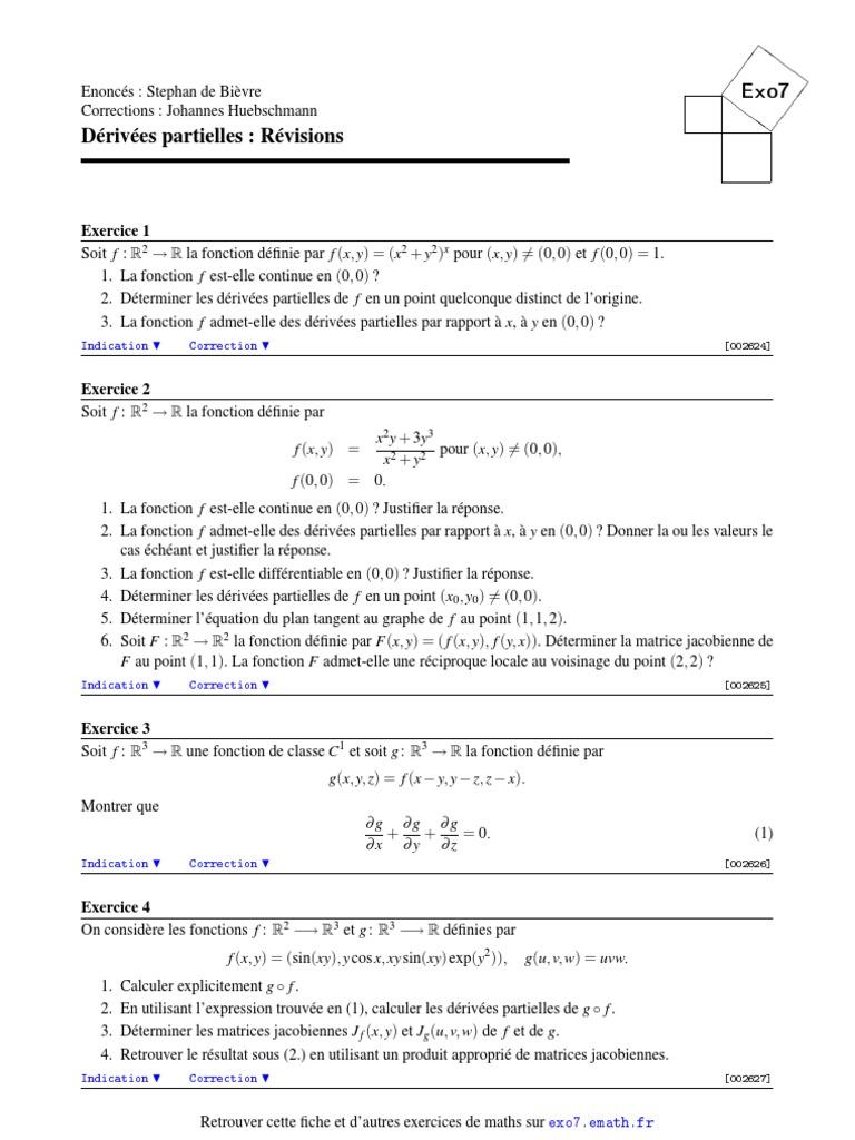 Derivees Partielles Calcul Differentiel Analyse Fonctionnelle