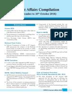 UPPCS Current Affairs Compilation 1st September 10th October 2018 Eng