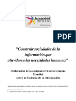 Declaración de la sociedad civil a la Cumbre Mundial sobre la Sociedad de la Información 2003
