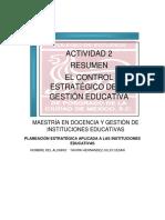 Actividad 2 Resumen El Control Estratégico de La Gestión Educativa