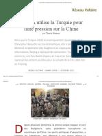 La CIA Utilise La Turquie Pour Faire Pression Sur La Chine, Par Thierry Meyssan