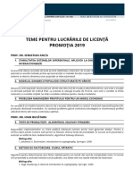 Teme Licenta Promotia 2019