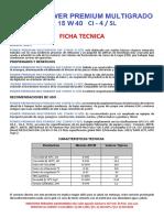 Ficha Tecnica 15w40 Ci-4 Sl Dc Lube