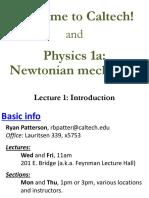 Introduction to Newtonian mechanic CALTECH <3