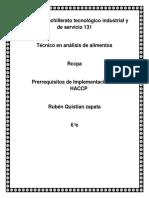 Pre Requisitos de Implementacion de HACCP