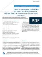 Two Stage Treatment of Concomitant Complicated Right Amyand's Hernia and Incarcerated Left Inguinal Hernia Case Report and Review of the Literature