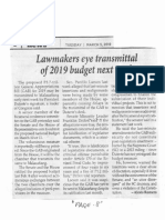 Philippine Star, Mar. 5, 2019, Lawmakers eye transmittal of 2019 budget next week.pdf