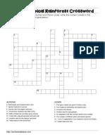 Tropical Rainforest Crossword
