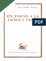 Menéndez Pidal, Sobre Lengua Vasca
