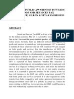 A STUDY ON PUBLIC AWARENESS TOWARDS GOODS AND SERVICES TAX (AMENDMENT) BILL IN KOTTAYAM REGION