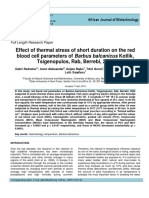 Effect of Thermal Stress of Short Duration on the Red