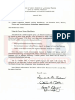Letter to members from The Church of Jesus Christ of Latter-day Saints