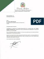 Carta de condolencias del presidente Danilo Medina a Trajano Vidal Potentini por fallecimiento de su padre, Trajano Salvador Potentini Cano