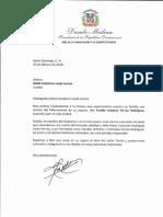 Carta de condolencias del presidente Danilo Medina a Wilda Gutiérrez viuda Ferrúa por fallecimiento de su esposo, Freddy Antonio Ferrúa Rodríguez
