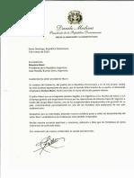 Carta de condolencias del presidente Danilo Medina a Mauricio Macri, presidente de la República Argentina, por fallecimiento de su padre, Franco Macri