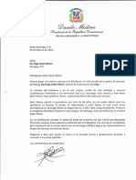 Carta de condolencias del presidente Danilo Medina a Santiago Saint Hilaire por fallecimiento de su padre, Domingo Saint Hilaire