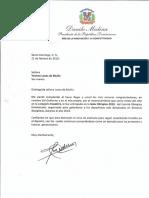 Carta de felicitación del presidente Danilo Medina a Yvonne Losos de Muñiz por recibir el premio Atleta del Año, categoría Ecuestre, en la Gala Olímpica 2019