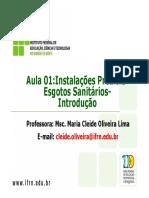 Aula 01_Instalações Prediais- Esgotos Sanitários- Introdução. Professora_ Msc. Maria Cleide Oliveira Lima