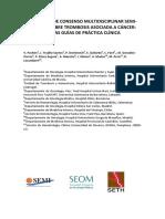 Documento de Consenso SETH SEOM SEMI Sobre Trombosis Asociada a Cancer 2018