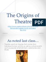 The Origins of Theatre, Egyptian and Greek, 9.19.18