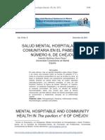 SALUD MENTAL Y HOSPITALARIA EN LA SALA N6 DE CHÉJOV