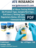 Global Drug of Abuse Testing Market (by Product Type, Sample Test Type, Setting Type, Region), Regulatory Status, 20 Company Profile - Forecast to 2024