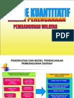 Metode Kuantitatif Dalam Perencanaan Pembangunan