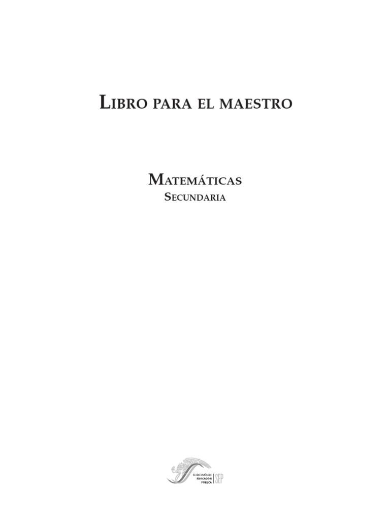Libro para el Maestro. Matemáticas Secundaria