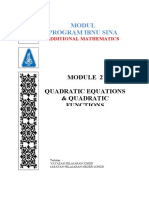 MODULE 2 - QUADRATIC EQUATION & QUADRATIC FUNCTIONS