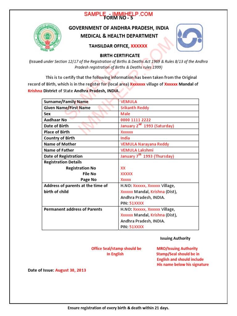 Sample Birth Certificate Andhra Pradesh India Pdf