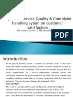 Impact of Service Quality & Complaint Handling Sytem