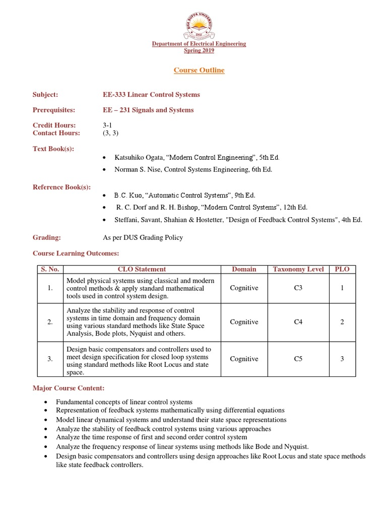 Lcs Course Outline Spring 2019 Control Theory Laplace Transform