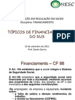 Financiamento Do SUS - Curso de Regula o Do SUS Fim