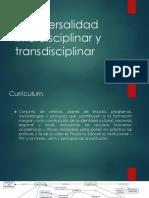 Tranversalidad Interdisciplinar y Transdisciplinar