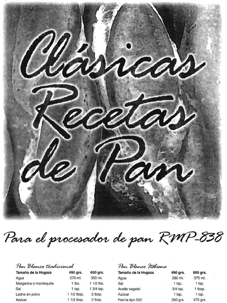 Maquina Para Pan Recco Rmp838 Recetas y Manual