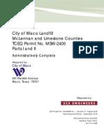 City of Waco Landfill, Parts I-II General Application Requirement (Admin Complete 09-14-18)