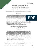 Analisis de La Enseñanza de La Filosofía Como Problema Filosofico