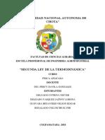 Informe de La Segunda Ley de Termodinamica