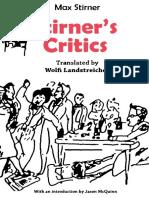 Max Stirner Stirners Critics 1