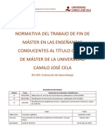 Normativa Del Trabajo de Fin de Máster. Ucjc