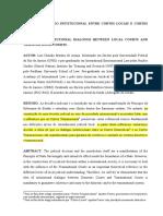 O DIÁLOGO INSTITUCIONAL ENTRE CORTES LOCAIS E CORTES TRANSNACIONAIS.