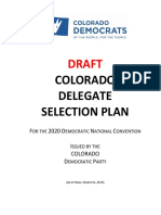Colorado Democratic Party 2020 Delegate Selection Plan **Draft**