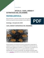 Festina Lente b.g._ Caos, Orden y Estrategia Del Enjambre
