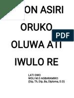 Awon Asiri Oruko Oluwa Ati Iwulo Re(1)