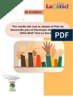 """Proyecto de acuerdo """"Por medio del cual se adopta el Plan de Desarrollo para el Municipio de La Dorada 2016-2019 'Vive La Dorada"""""""