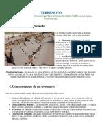 Causas y Consecuenias de Un Terremoto, Tsunami, Erupcion, Inundacion