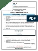 Certificate benzoic acid